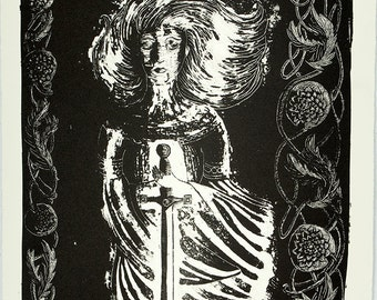 Nimue Waits for King Arthur: ORIGINAL stone Lithography Print; excalibur, arthurian legend, lore, england, illustration, black and white