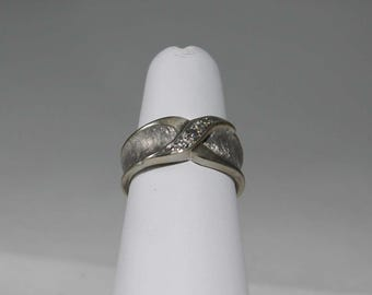 14K Frosted White Gold Diamond Ring c1961