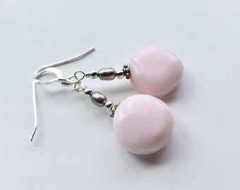 Light Pink Peruvian Opal Stone Bead Earrings With Freshwater Pearls And Silver