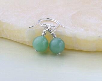 Green Aventurine Earrings, Mini Drop Gemstone Earrings - Aventurine Gemstones for the Heart Chakra, Green Earrings, Bridesmaids Gift