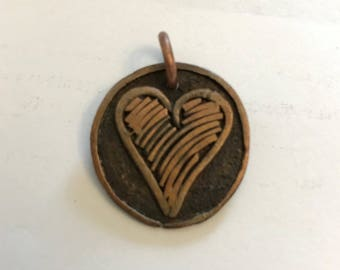 Copper Pendant, Heart Drawing # 82