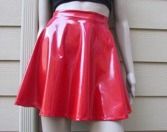 Red PVC Vinyl Spandex Skater Skirt