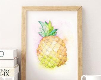 Pineapple Illustration - Pineapple Kitchen Artwork - Pineapple Watercolor Painting - Pineapple Kitchen Painting - Fruit Illustrations