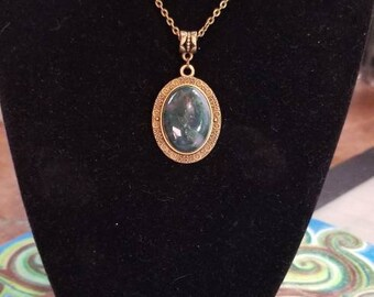 "18"" Moss Agate cabochon necklace"