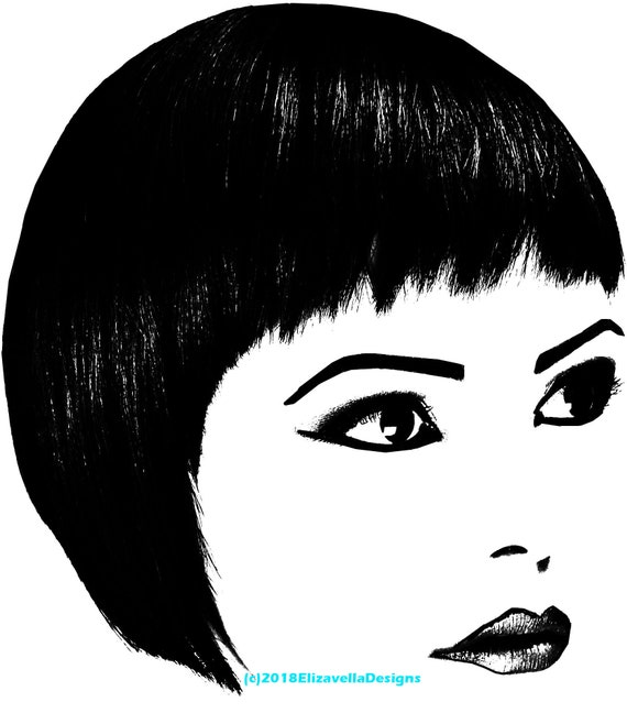bobbed hair cut eyes and lips womans facial features printable art makeup clipart png download digital beauty image graphics digital stamp