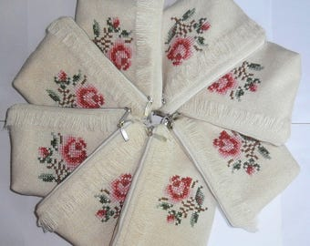 English Garden -set of 8 offwhite zipper pouch, embroidered rose, handmade hippie clutch, bridesmaid gift bag, rustic wedding bags