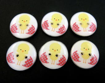 """Easter Chick and Egg Buttons.   Easter Buttons.  Choose Your Size.  1"""" = 25 mm,  3/4"""" = 20 mm or 5/8"""" = 16 mm."""