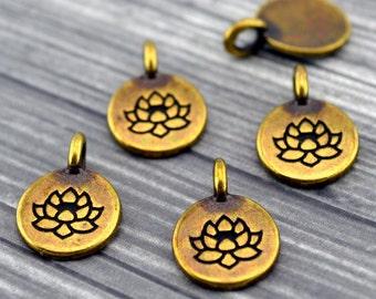 TierraCast LOTUS Charms, Antique Brass, Tiny Flower Charms, Bronze Drops, Qty 4 to 20 Yoga Meditaton Wrap Bracelet Charms