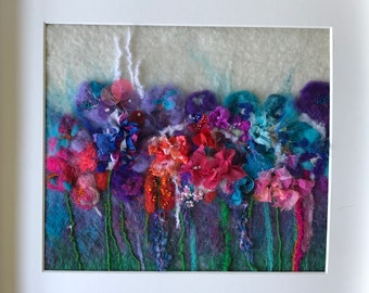 Feltpainting wal art flowers wool and silk decoration