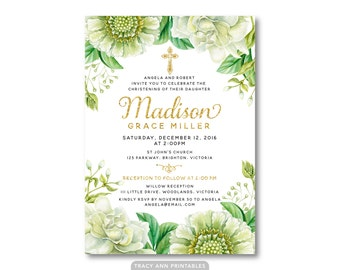 Girl Christening Invitation, Girl Baptism, Christening Invitation,  Floral Invite, Printable, Digital, 9001