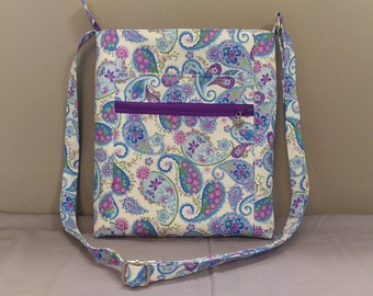 Pretty blue purple paisley fabric crossbody bag, shoulder bag. Room for all the essentials!