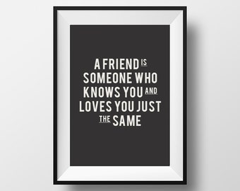 A friend is, someone who, knows you, and loves, you just, the same, inspirational quote, instant download, typography, motivational quote