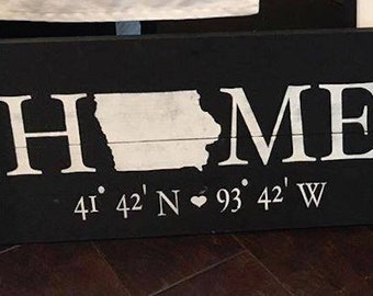 Custom State Home Wooden Sign w/ Longitude & Latitude