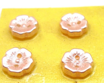 "6 Czech Glass Buttons, Frosted pale pink glass flowers, 7/16"". Unused."