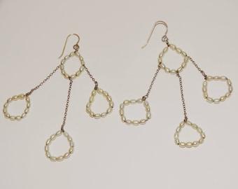 "Vge Sterling Silver Freshwater Pearl 3 3/4"" Dangling Earrings."