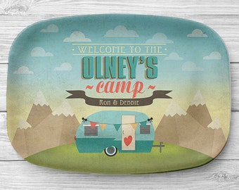Personalized RV Trailer Platter, Personalized Melamine Camper Serving Platter, Personalized Serving Tray, Camping Decor, RV Decor
