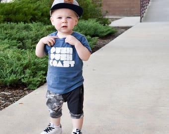 Push Push Coast T Shirt.Kid's Cotton Tee.Skateboard Shirt.Skateboard Tee.Skateboard Tshirt.Skater Shirt.Skate Shirt.Skateboarding.Skate.Sk8