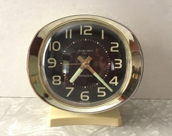 Vintage Westclox Baby Ben Wind Up Alarm Clock - Glow-In-The-Dark - Brown-Cream - Luminescent Numbers/Hands - Made In USA - Working Condition