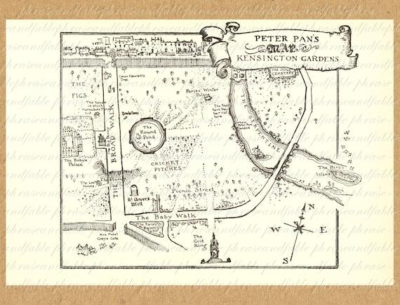 Mapa de peter pan los jardines de kensington para imprimir for Jardines de kensington