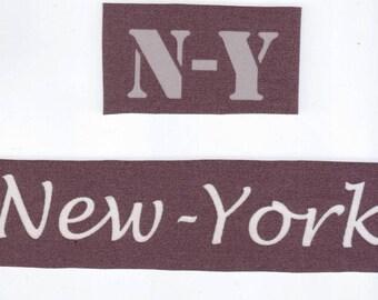 """2 écritures """"New York"""" à coudre application textile en toile enduite pour customisation"""