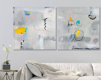 Grey abstract canvas ABSTRACT PAINTING Original Extra Large wall art gray blue abstract above bed art living room abstract by Duealberi