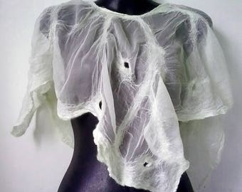 Off White Short Nuno Felted Poncho Summer Poncho Capelet Fairy Poncho