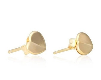 TAX Season Sale Love. Creased Center Tiny Heart Post Gold Filled Earrings