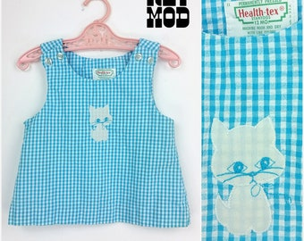 BABY SIZE - Adorable Vintage 60s Kitty Cat Blue Plaid Mod Shift Dress!