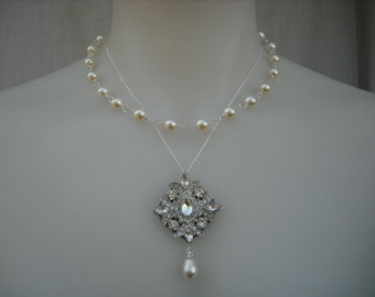 Ava, Double Strands Rhinestone Center Necklace, Bridal Necklace, Art Deco Bridal Necklace, Vintage Style  Wedding Jewelry