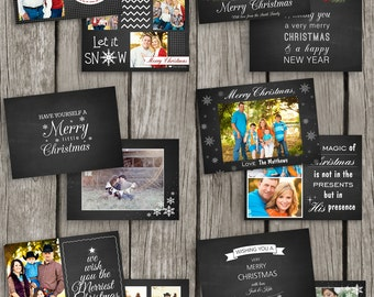 Christmas Card Set of Six - Christmas Template Chalkboard Card Set - Holiday Photo Catrds - Photoshop Templates for Phoographers - CS10