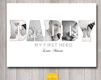 Custom Name Photo Wall Art Printable My First Hero,  Gift for Dad, Father's Day Gift, Photo Gift, Poppy, Daddy etc