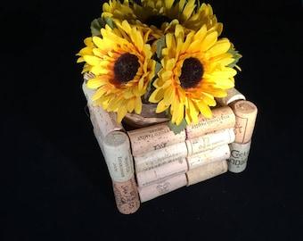 Wine Cork Vase with Sunflowers