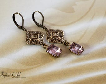 Art Deco Earrings, Pale Amethyst Swarovski Crystal, Vintage Drop Earrings, Edwardian Earrings, Antique Bronze Connector, Handmade UK, 1920s
