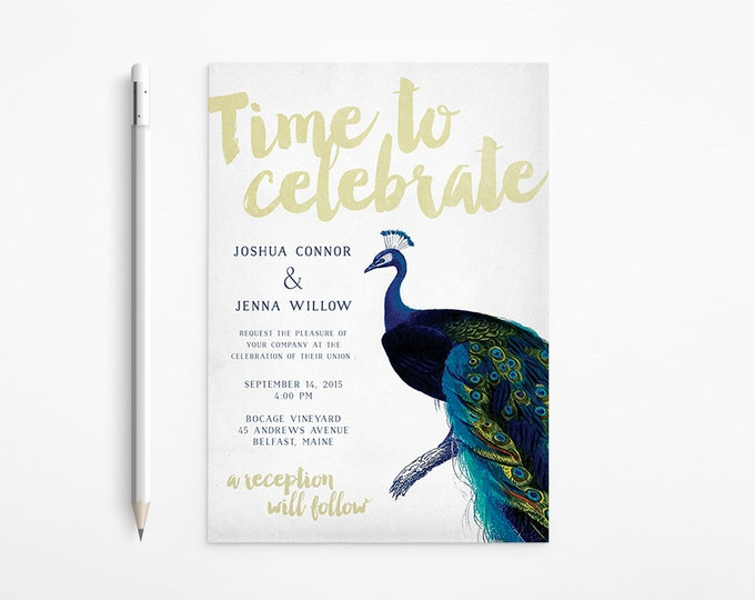 PRINTABLE - Vintage Peacock Wedding Invitation - Navy - Gold - Foil - Free changes