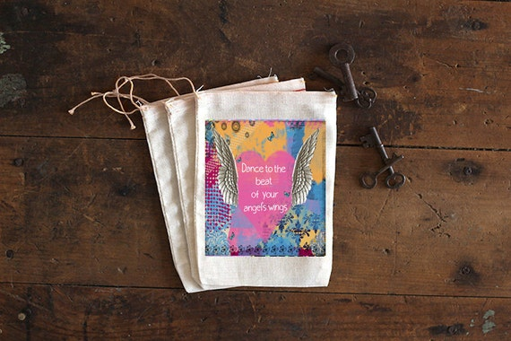 Angel Wing Muslin Bags - Art Bag - Pouch - Gift Bag - 5x7 bag - Party Favor