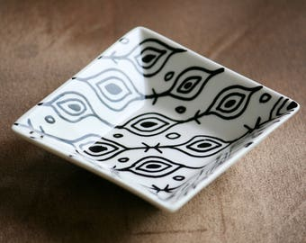 Zentangle inspired hand decorated dish