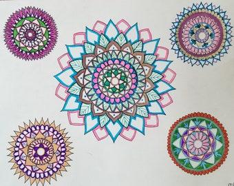 Dessin de Mandala, Mandala Art, Art coloré, dessin Original