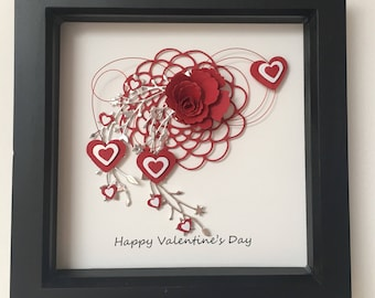 Love Hearts Valentines Day embellished box frame