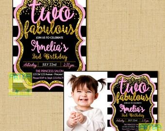 Two Fabulous Invitation, 2nd birthday invitation, 2nd birthday girl invitation, modern 2nd birthday invitation, pink gold black 2 invite