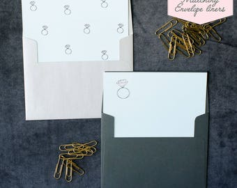Printed Matching Envelope Liner   A2 Sized Liner   Wedding Ring Liner   Engagement Ring   Unique Way To Ask Your Best Friend   Pretty Liner