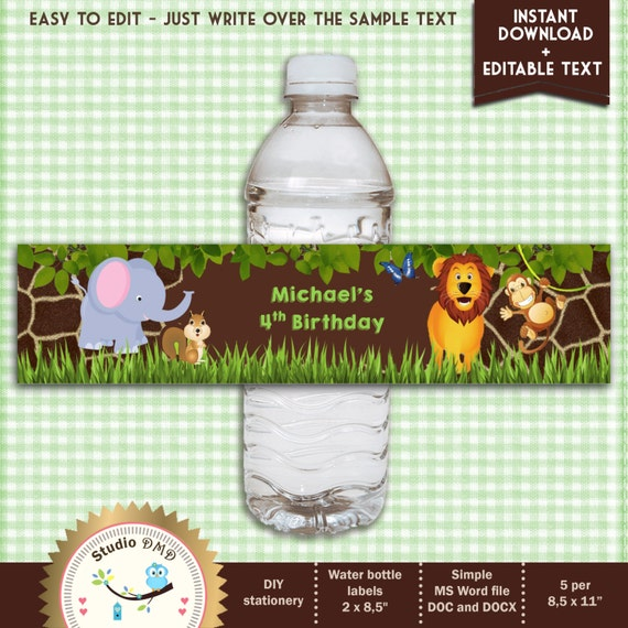 Printable Jungle Animal Safari Water Bottle Labels For Boy
