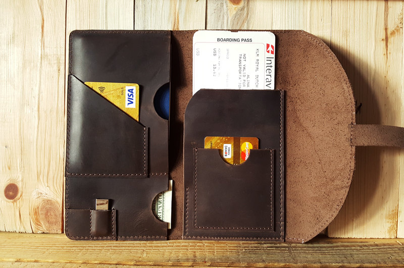 Leather Monogramed Travel Wallet Passport Wallet