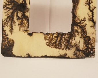 Fractal burn picture frame.  Natural grain with a clear finish