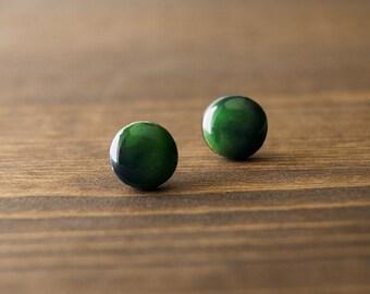 Green earrings - shade of green and black - nature - stud earrings