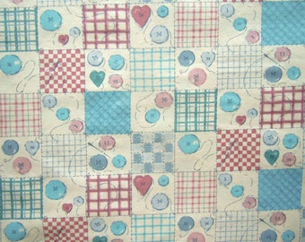 43 X 72 Multi Color Sewing Patchwork Print on Ivory Cotton Fabric Remnant