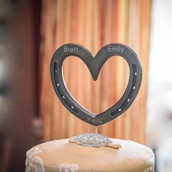 Heart Wedding Cake topper Horseshoe western or country heart