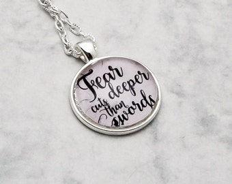 Game of Thrones Arya Stark Fear cuts deeper than swords Syrio Forel Necklace Pendant Fandom Fangirl quote handmade fashion jewelry
