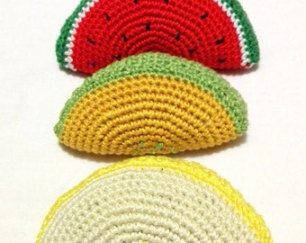 crochet fruit, pretend play, play food, melon, watermelon