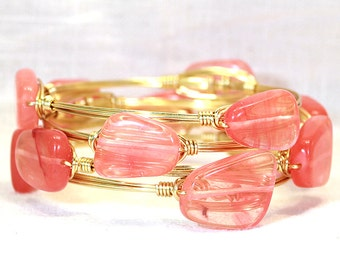 Coral Veiled Clear Glass Wire Wrapped Bangle Bracelet Southern Style Stackable Bracelet Gold