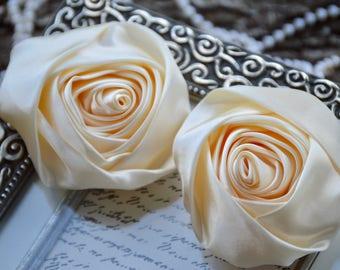 "3"" XLarge Satin Fabric Roses, Rolled Rosettes, Ivory Satin Rolled Rosettes, Satin Roses, Rolled Satin Roses, Satin Flowers"